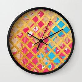 Pink Marble Gold Geometric Pattern Wall Clock