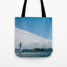 Ships Around Alcatraz // San Francisco, California Tote Bag