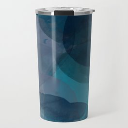 Abstract Watercolor Circles in Ombre Blue Travel Mug
