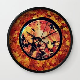 """Nicolas cage eyeshadow: """"Nic Cage Raking Leaves On a Brisk October Afternoon"""" Wall Clock"""