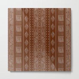 Brown Ethnic Tribal Style Pattern Metal Print