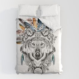 Bohemian Wolf with Feather Headdress Comforters