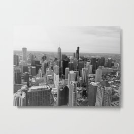 Chicago Skyline - Black and White Photograph Metal Print