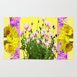 YELLOW DAFFODILS FLOWER GARDEN & PINK POPPIES DESIGN Rug