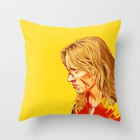 kill bill Throw Pillows featuring kill Bill by Maioriz Home