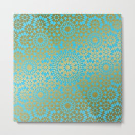 Moroccan Nights - Gold Teal Mandala Pattern 1 - Mix & Match with Simplicity of Life Metal Print