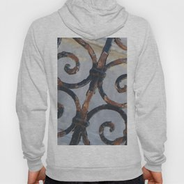 Rusty Metal Grid Gate pattern Illustration Hoody
