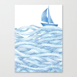 Blue sailboat, watercolor nautical ocean waves sea Canvas Print