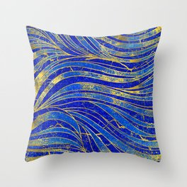 Lapis Lazuli and gold vaves pattern Throw Pillow