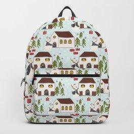 Festive Winter Snowman Village Seamless Christmas Xmas Backpack