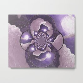Purple Full Moon and Clouds Abstract Metal Print
