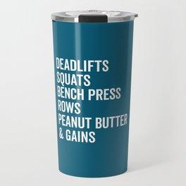 Peanut Butter & Gains Gym Quote Travel Mug