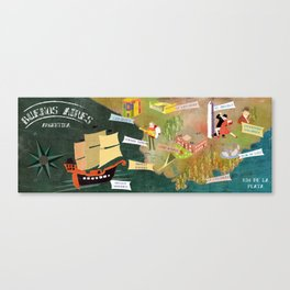 Buenos Aires, Map Canvas Print
