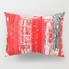 Colorful Red Telephone Booths in London Watercolor Painting Print Pillow Sham