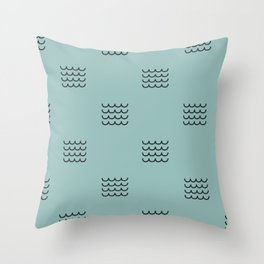 Navy waves on tuquoise Throw Pillow