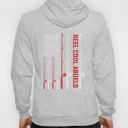 Funny Men Fishing Reel Cool Abuelo Father's Day Fishing American Flag Hoody