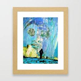 Castaneda and the kids - blue Framed Art Print