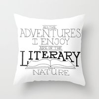 literary Throw Pillows featuring Literary Adventures by Drop and Give Me Nerdy