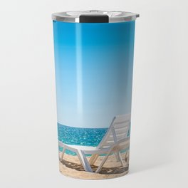 Two chaise-longues on the beach without people Travel Mug