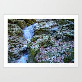 Frozen Cascades Art Print