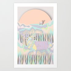 Deer Forest Art Print