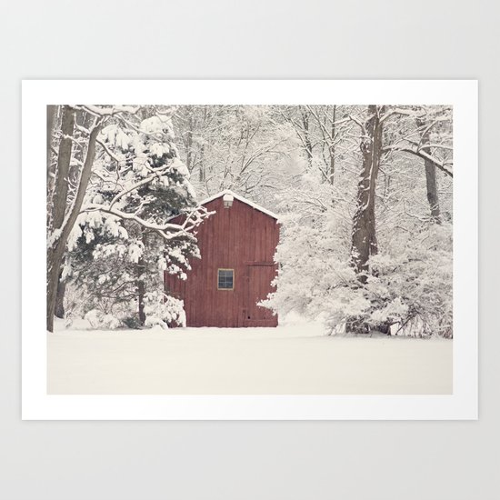 Red Barn on a Snowy Day Art Print