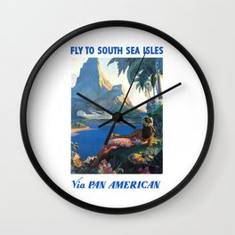 1940 FLY TO THE SOUTH SEA ISLES Via Pan American Airlines Travel Poster Wall Clock