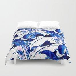 blue tropical leaves Duvet Cover