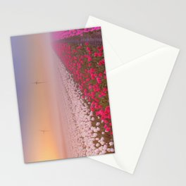 II - Sunrise and fog over rows of blooming tulips, The Netherlands Stationery Cards
