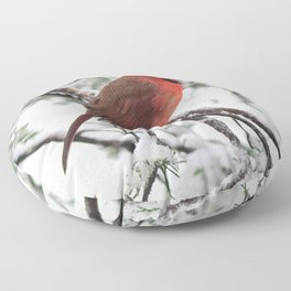 Wet Snow Cardinal (vertical) Floor Pillow