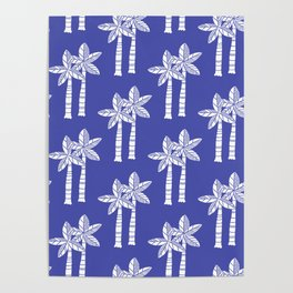 Palm Tree Pattern Blue 2 Poster