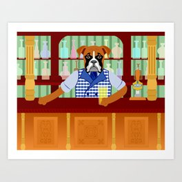 Boxer Dog Beer Pub Art Print
