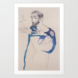 Gustav Klimt in blue painter's coat by Egon Schiele Art Print