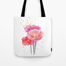 Colorful Watercolor Poppies Tote Bag