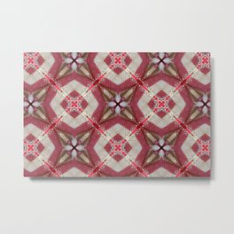 Holiday Red, Cream and Gold Burlap Plaid Pattern Metal Print