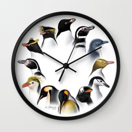 Penguins of the World Poster Wall Clock