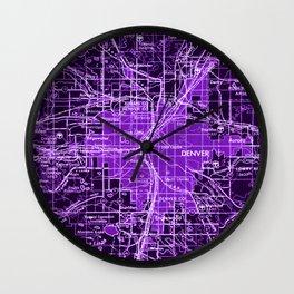 Purple Old Map, Denver 1958, Vintage Wall Decor Wall Clock