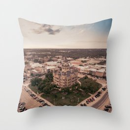 Denton, TX Square and Courthouse Throw Pillow
