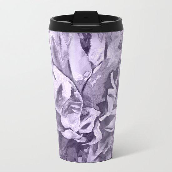 Painted Peony Sepia Lavender Metal Travel Mug