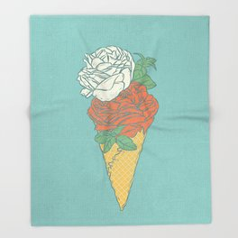 Rose ice cream Throw Blanket
