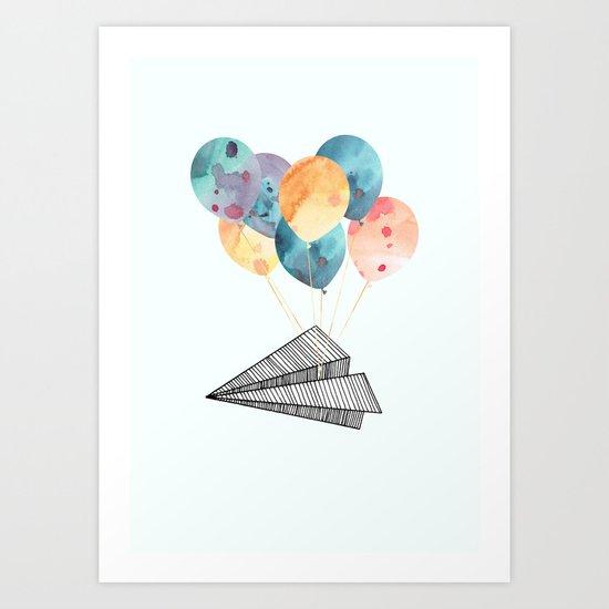 Fly paper plane! Art Print