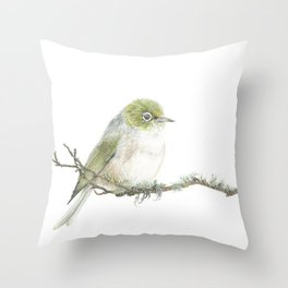 Silvereye - Waxeye bird Throw Pillow