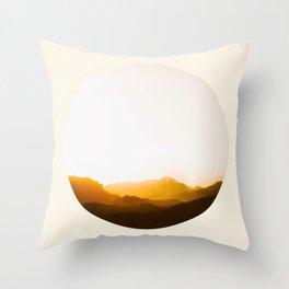 Sepia Sunset Mountains Silhouette Throw Pillow
