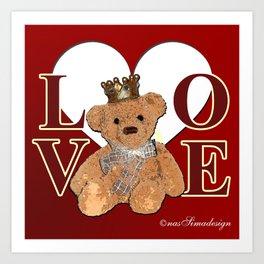 Teddy in Love Art Print