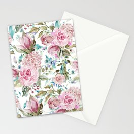 Country chic blush pink teal lavender watercolor floral Stationery Cards