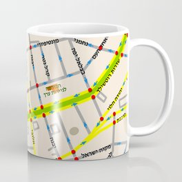 Tel Aviv map - Rothschild Blvd. Hebrew Coffee Mug