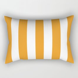 Carrot orange - solid color - white vertical lines pattern Rectangular Pillow