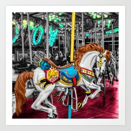 Colorful Carousel Horse at Carnival Art Print