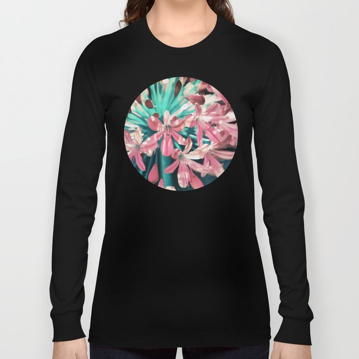 Sunny Agapanthus Flower in Pink & Teal Long Sleeve T-shirt