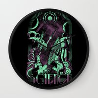 science Wall Clocks featuring Science by Fuacka